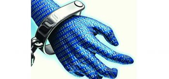 Cyber hand in cuffs-Cyber security