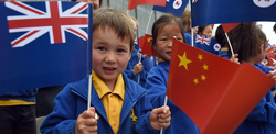Children holding flags