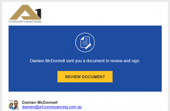 A1 Conveyancing invite to DocuSign